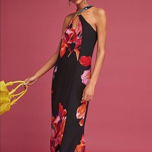 Anthropologie (Maeve) Black Silk Floral Maxi Dress
